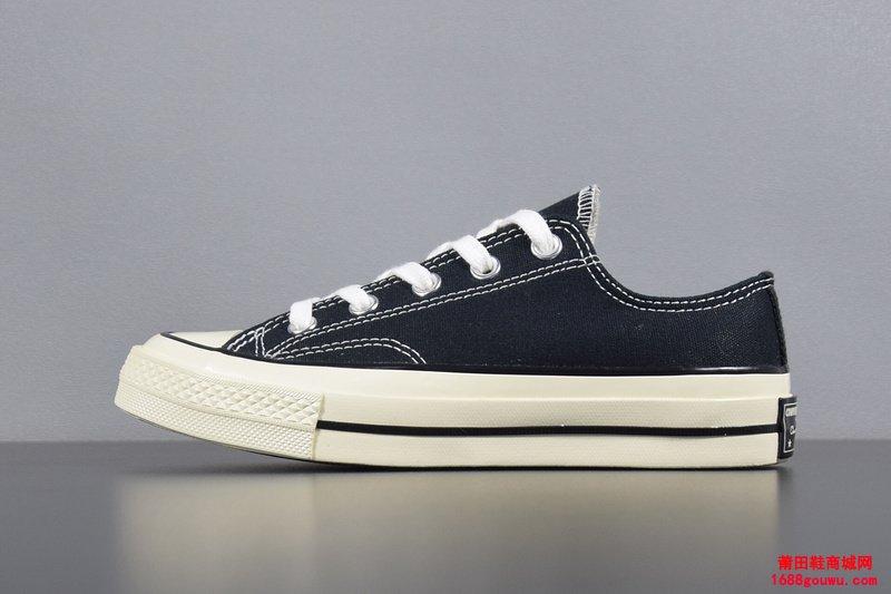 匡威三星标低帮黑色帆布鞋 144757C12-品牌